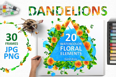 Watercolor dandelion set