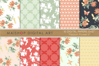 Floral Digital Paper Pack  I  Passion Flower II