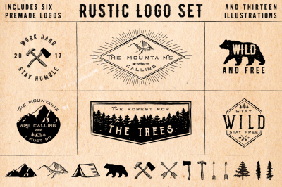 Rustic Logos & Illustrations AI PNG