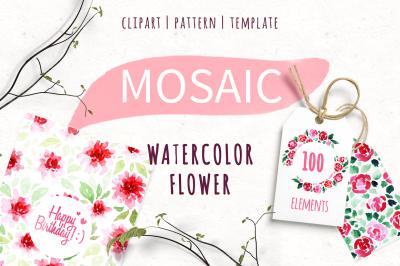 100 watercolor clipart element