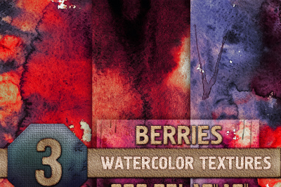 3 Berries Watercolor Texture Digital Papers - Red, Purple, Pink, Magenta, Fuscia, Strawberry, Digital Download, 300 dpi 12x16, Background