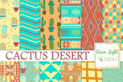 Cactus Digital Papers, Cacti Backgrounds, Cactus Scrapbook Papers