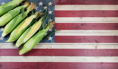 Corn and USA Flag