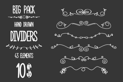 Set of Doodle hand drawn dividers