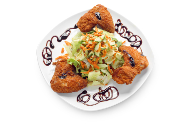fried chicken wings with vegetable salad