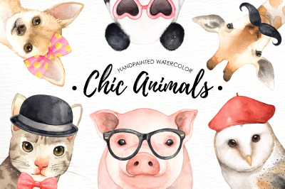Chic Animals Watercolor Clip Art
