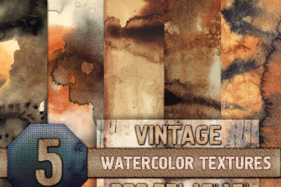 5 Vintage Watercolor Texture Digital Papers - Brown, Old, Retro, Warm, Orange, Instant Digital Download, 300 dpi 12x16, Background, Resource