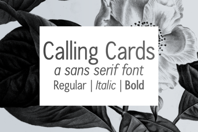 Calling Cards | a sans-serif font