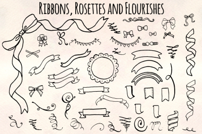 Ribbons Rosettes Flourishes Bundle