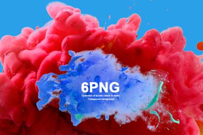 6 PNG acrylic colors blots