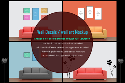 Wall art / decals / poster Mockup v1