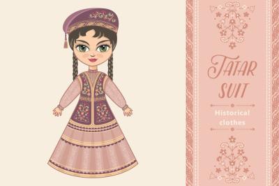 The girl in Tatar dress. Historical clothes. Tatarstan.