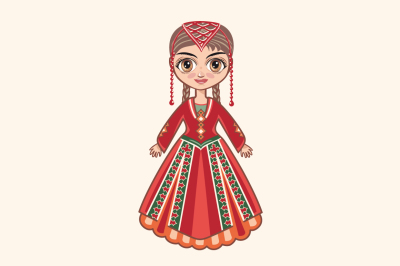 The girl in Armenian dress. Historical clothes. Armenia.