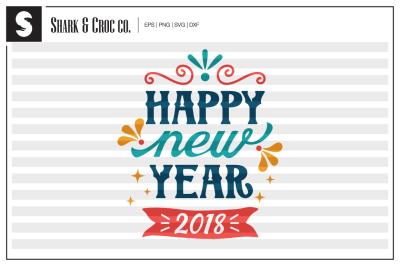 'Happy New Year 2018' cut file