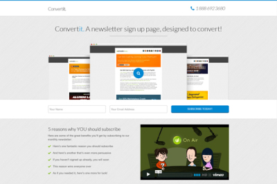 Convertit Email Landing Page