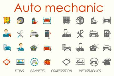 Auto mechanic flat set
