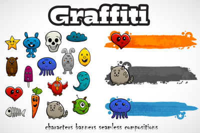 Graffiti characters set