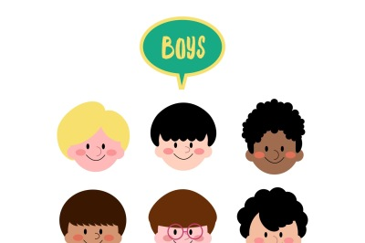 9 Different Ethnic/Hairstyle Boys Face Clip Art
