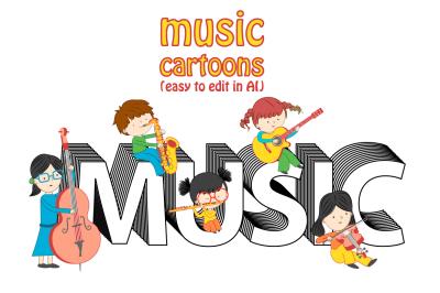 Set of music cartoons
