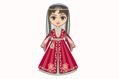 The girl in Chechen dress. Historical clothes. Chechnya.