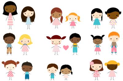 Cute multicultural children stick figures clip art, Boys and girls clipart
