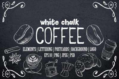 White Chalk Coffee & Dessert Clipart