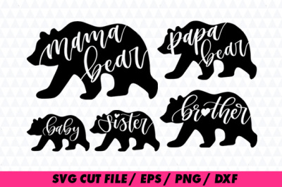Bear Family SVG for Silhouette and Cricut