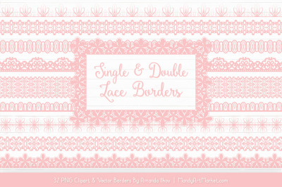 Mixed Lace Clipart Borders in Soft Pink