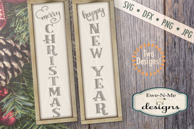 Merry Christmas - Happy New Year SVG Bundle - Vertical