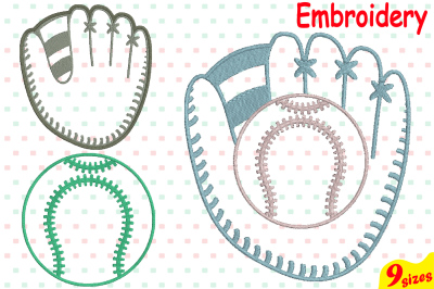Baseball Glove Ball Designs for Embroidery Machine Instant Download Commercial Use digital file 4x4 5x7 hoop icon symbol sign Strings 60b