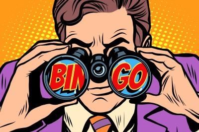 Bingo Businessman looking through binoculars