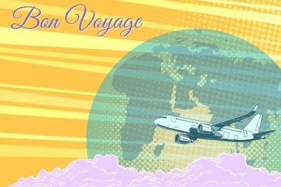 Plane flight travel tourism retro background Bon voyage