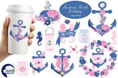 Nautical Beach Wedding graphic, illustration, clipart AMB-1393