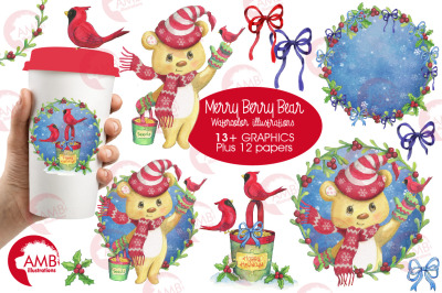 Christmas Merry Berry Bear Watercolor bundle clipart, graphic, illustration  AMB-1489