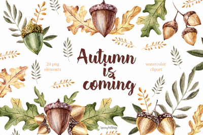 Autumn is coming! Watercolor set