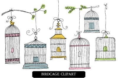 Doodle Birdcages Clipart