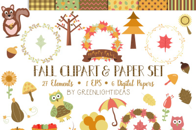 Fall Clipart and Digital Paper Set