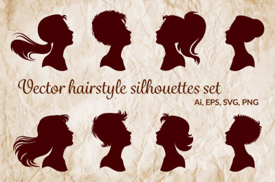 Vector hairstyle silhouettes set