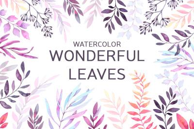 Watercolor wonderful leaves. Violet