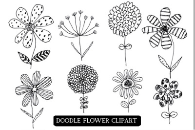 Doodle Flowers Clipart and Png Files