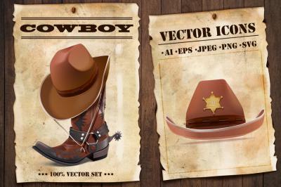 Cowboy accessories vector icons