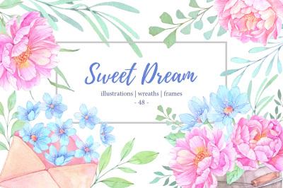 Sweet dream. Watercolor set
