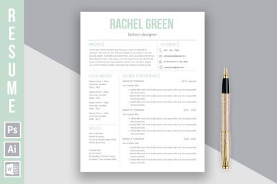 Resume template 'Rachel Green'