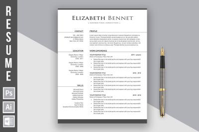 Resume template 'Elizabeth Bennet'