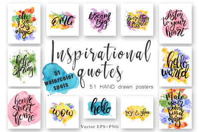 Hand drawn watercolor Inspirational quotes. DIY pack. Vector Letterings