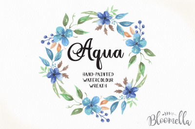 Hand Painted Watercolour Clip Art Blue Floral Wreath - Aqua