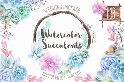 Watercolor Succulents & Wreath
