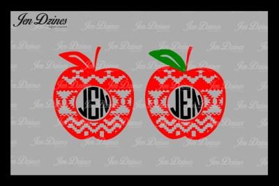 Aztec Apple Monogram Frame SVG DXF EPS PNG