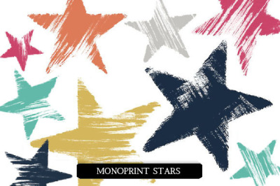 Monoprint Stars Clipart and Brushes