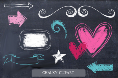 Chalky Design Elements. Clipart, Brushes.